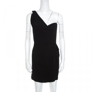 Issa Black Silk Jersey One Shoulder Draped Mini Dress M - used