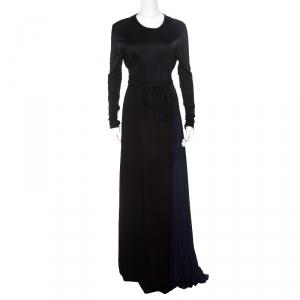 فستان عيسى ماكسي جورجت مزدوج فانكا هيفي بليسيه متباين أسود M