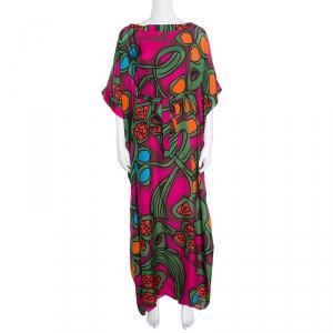 Issa Multicolor Printed Silk Tie Detail Kaftan S