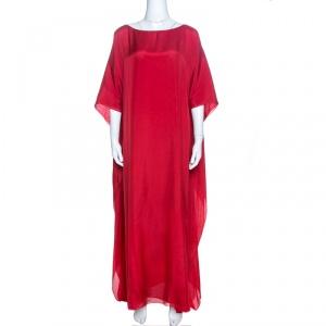 فستان قفطان ماكسي عيسى حرير أحمر L