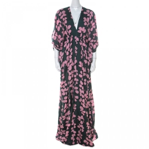 Issa Pink and Green Printed Silk Zip Front Kaftan Dress M