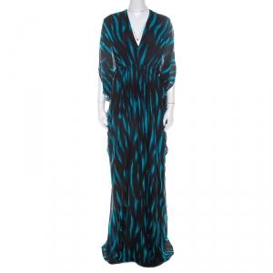 Issa Blue and Black Stripe Printed Silk Maxi Kaftan Dress S