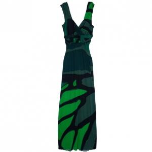 Issa Green Printed Satin Jersey Maxi Dress M