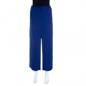 Issey Miyake Blue Split Tie Front Elasticized Waist Loose Pants S