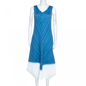 Issey Miyake Blue Creme Diagonal Pleated Sleeveless Dress S