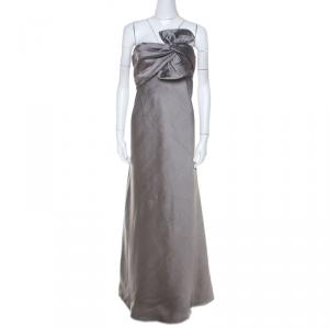 J Mendel Grey Silk Blend Strapless Front Bow Detail Gown L - used