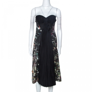 J Mendel Multicolor Printed Crepe Front Pleat Detail Strapless Dress S - used