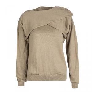 J.W.Anderson Brown Merino Wool Draped Overlap Shoulder Detail Sweater L