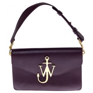 J.W.Anderson Dark Burgundy Leather Anchor Logo Chain Shoulder Bag