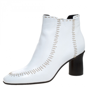 J.W.Anderson White Leather Stitch Detail Ankle Boots Size 41