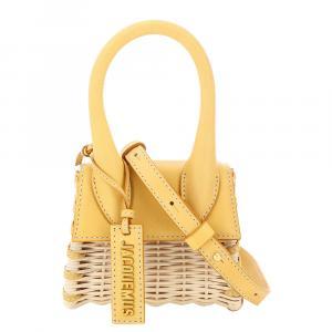 حقيبة جاكيموس لو شيكيوتو مايكرو جلد/ ويكر صفراء