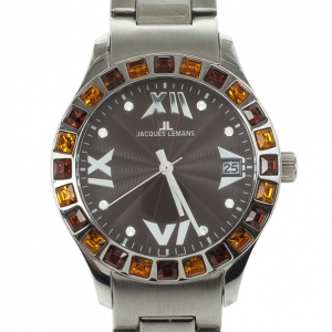 Jacques Lemans 1-517 Stainless Steel Gemstone Quartz Womens Wristwatch 37 MM