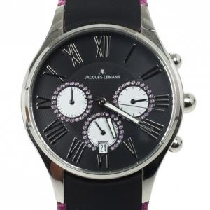 Jacques Lemans Capri 1-1606 SS Leather Chronograph Womens Wristwatch 40 MM