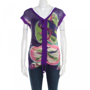 Jean Paul Gaultier Soleil Multicolor Printed Nylon Mesh Ruched Top XL