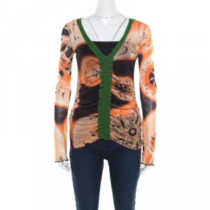 Jean Paul Gaultier Soleil Multicolor Printed Nylon Mesh Ruched Long Sleeve Top L