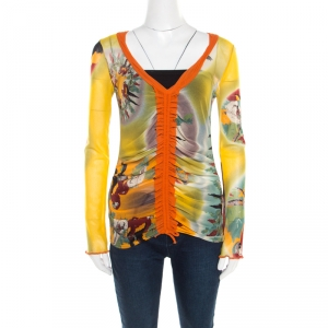 Jean Paul Gaultier Soleil Multicolor Bird Printed Nylon Mesh Ruched Long Sleeve Top L