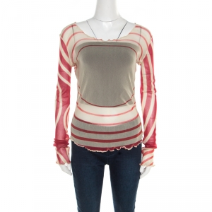 Jean Paul Gaultier Soleil Red and Cream Printed Nylon Mesh Long Sleeve Top L