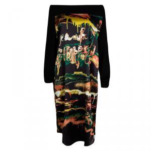 Jean Paul Gaultier Maille Femme Multicolor Printed Contrast Sleeve Dress L