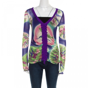 Jean Paul Gaultier Soleil Multicolor Floral Printed Nylon Mesh Ruched Long Sleeve Top L