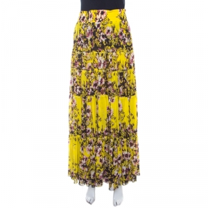 Jean Paul Gaultier Yellow Floral Printed Gauze Tiered Long Skirt M