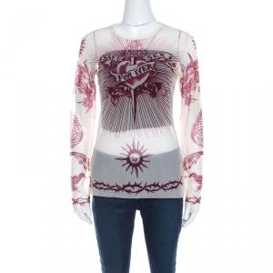Jean Paul Gaultier Soleil Cream Printed Nylon Mesh Long Sleeve Top L