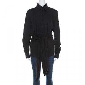 Jean Paul Gaultier Black Cotton Open-Back Tie-Detail Shirt M