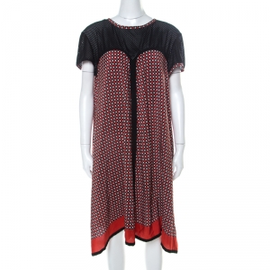 Jean Paul Gaultier Red and Black Geometric Printed Silk Perforated Knit Detail Dress L - used