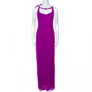 Jean Paul Gaultier Soleil Purple Stretch Beaded Neck Detail Maxi Dress L - used