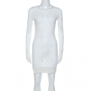 Jean Paul Gaultier Soleil White Stretch Lace Sheer Dress L - used