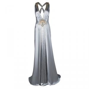 Jenny Packham Grey Satin Embellished Halter Evening Gown M used