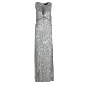 Jenny Packham Grey Sequin Embellished V-Neck Sleeveless Gown S