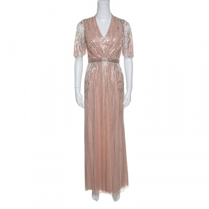 Jenny Packham Blush Pink Embellished Tulle Gown S used