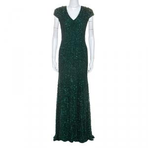 Jenny Packham Green Embellished Matador Evening Gown used