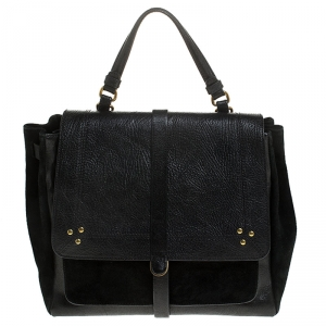 Jerome Dreyfuss Black Leather and Suede Edouard Top Handle Bag