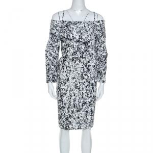 Jil Sander Monochrome Cotton Off Soulder Risiko Dress XL