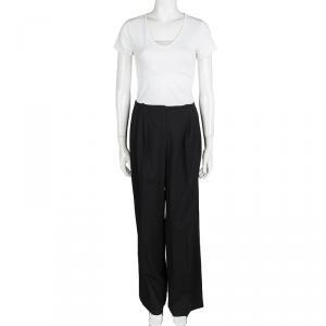 Jil Sander Black Wool Pleated Wide Leg Trousers M