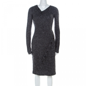 Jil Sander Monochrome Wool Blend Textured Wrap-Button Detail Sheath Dress M - used