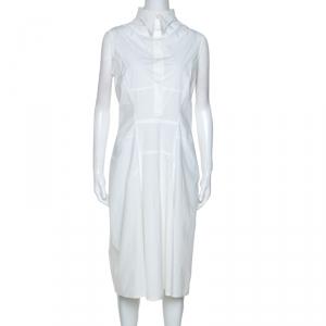 Jil Sander White Stretch Cotton Sleeveless Midi Dress L - used
