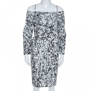 Jil Sander Monochrome Cotton Off Shoulder Risiko Dress M - used