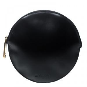 Jil Sander Black Leather Round Clutch