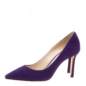 Jimmy Choo Purple Suede Romy Pointed Toe Pumps Size 35.5