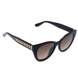 Jimmy Choo Black/Brown 807HA Chana Cateye Sunglasses