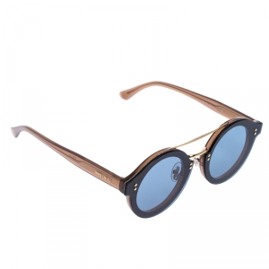 Jimmy Choo Light Brown/Blue Smoke Montie Round Sunglasses