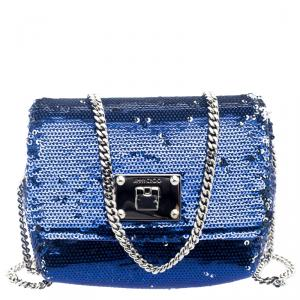Jimmy Choo Blue/Silver Sequined Ruby Clutch