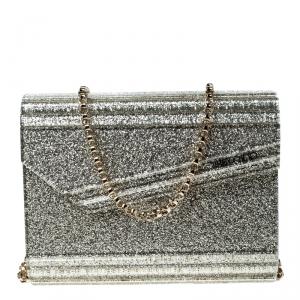 Jimmy Choo Gold Glitter Acrylic Candy Clutch Bag