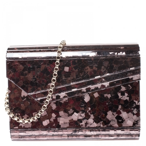 Jimmy Choo Old Rose Shimmering Acrylic Candy Clutch Bag