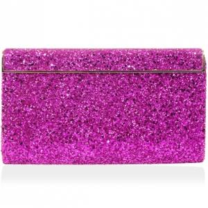 Jimmy Choo Dark Pink Cayla Coarse Glitter Clutch