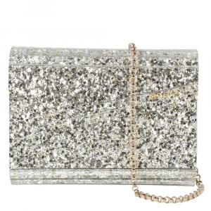 Jimmy Choo Metallic Champagne Glitter Acrylic Candy Clutch Bag