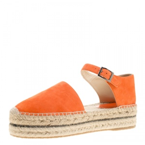 Jimmy Choo Pop Orange Suede Delphine Ankle Strap Espadrille Platform Sandals Size 40 -