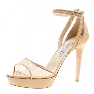Jimmy Choo Beige Lace Kayden Ankle Strap Platform Sandals Size 40 -